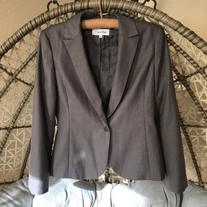 Calvin Klein Long Sleeves Blazer - Gray